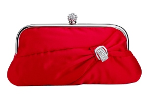 Red Satin Evening Clutch Purse Bag