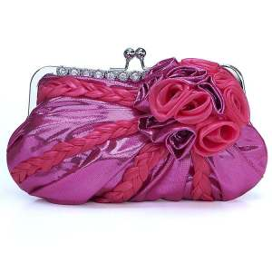 Fuschia Pink and Purple Shimmer Evening Clutch Purse Bag with Rhinestones