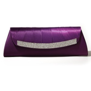 Purple Satin Wedding Clutch Purse Bag with Rhinestones