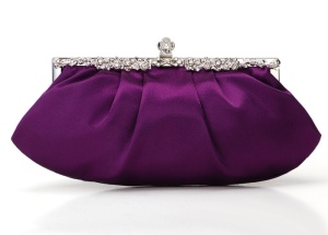 Purple Satin Wedding/Evening Clutch Purse Bag with rhinestones