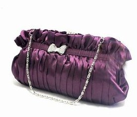 Purple Satin Evening Clutch Purse with Rhinestone bow
