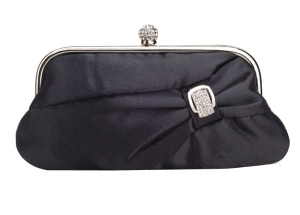 Black Rhinestone Evening Wedding Clutch Purse Bag