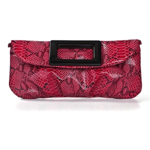 Red Pleather/Faux Leather Clutch Bag Purse