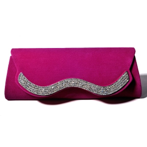 Hot Pink Velvet Evening/Wedding Clutch Bag with Rhinestones