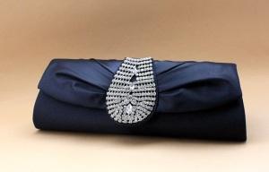Royal Navy Blue Silk Rhinestone Wedding/Evening Clutch Purse Bag