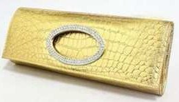 Gold Crocodile Faux Leather Formal Evening & Wedding Pleather Clutch Purse Bag with Rhinestones