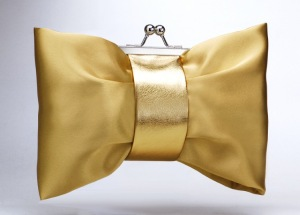 Gold Wedding/Evening Satin clutch bag purse with soft leather band