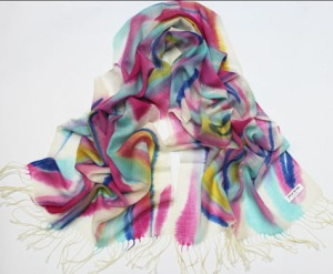 100% Wool Hand Painted Pashmina Scarf Shawl Wrap Multi color