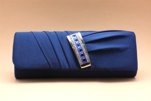 Royal Blue Sapphire blue Satin Wedding Clutch Purse with matching stones