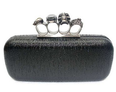Black Skull Ring Knuckle Duster Metal Hard Clutch Purse Bag