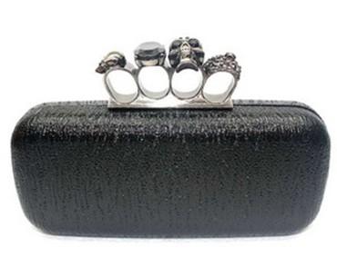 Black Skull Ring Knuckle Duster Metal Hard Clutch Purse Bag