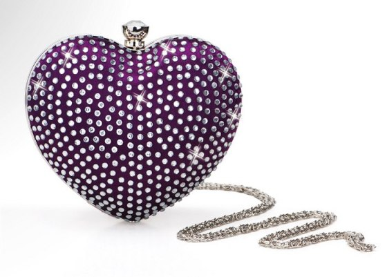 Purple Rhinestone Studded Heart Shaped Mini Prom Clutch Purse
