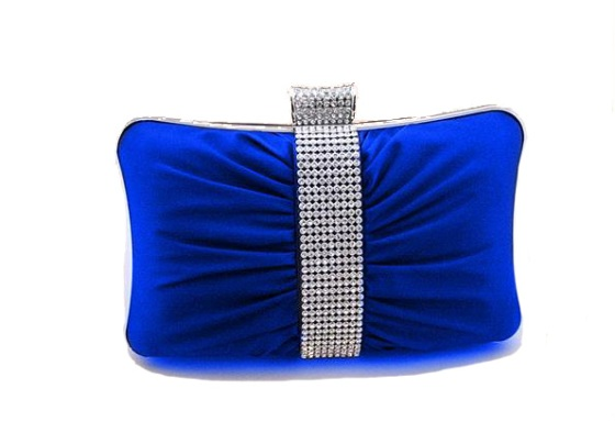 Royal Blue Satin Hard Clutch Purse with Rhinestones