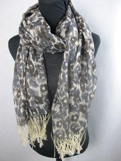 Black, White, Grey Leopard Animal Print 100% Wool Pashmina Shawl Wrap Scarf
