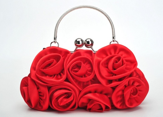Red Satin Shell Rose Flower Wedding/Evening Clutch Purse Bag