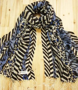 Black & Blue Leopard Print Spots & Stripes 100% Wool Pashmina Shawl Wrap Scarf