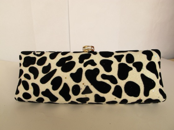 Black white shimmer suede velvet cheetah print leopard print animal print hard evening clutch handbag