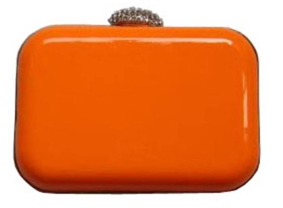 Hot Neon Orange Hard Case Minaudiere Mini Evening Cocktail Prom Clutch Purse