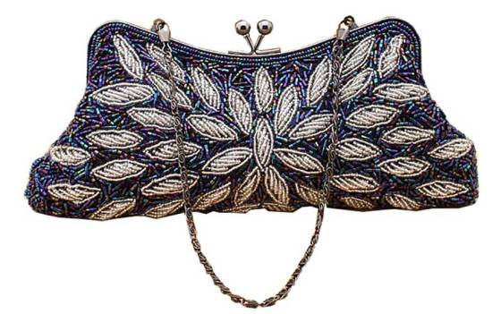 Blue & White Beaded Bridal Wedding Clutch Purse With Chain String