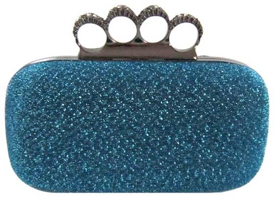 Royal Blue Glitter Metallic Duster Knuckle Clutch Evening Bag Purse With Rhinestones Something Blue