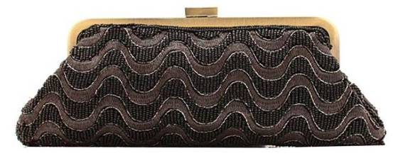 Black Beaded Bridal Wedding Clutch Purse With Chain String