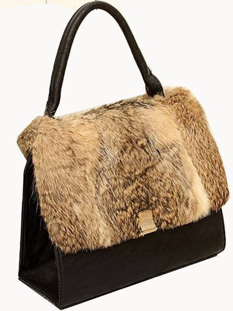 Black Shoulder Handbag with Faux Fur Front Flap & Handle