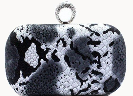 Black Faux Snakeskin Rhinestone Studded One Ring Knuckle Duster Style Evening Cocktail Bag