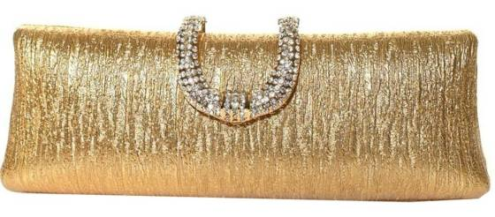Gold Metallic Hard Shell Cocktail Clutch Purse With Rhinestone Studded Clip Closure