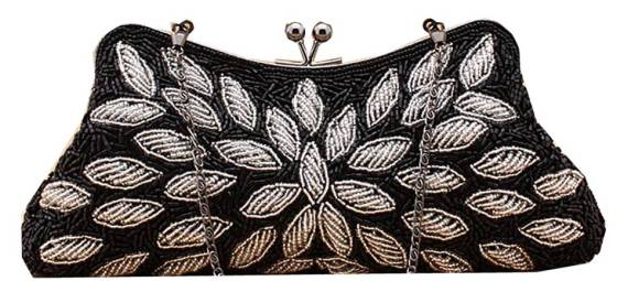 Black & White Beaded Bridal Wedding Clutch Purse With Chain String