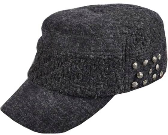 Dark Grey Wool Blend Women's Fiddler Hat Military Style Cap With Studs - Women's