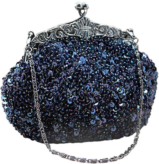 Royal Blue Fully Sequined Antique Style Clutch purse bag