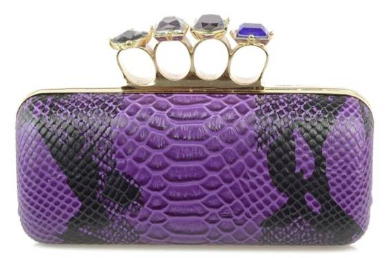 Purple Faux Snakeskin Duster Knuckle Four Ring Clutch Purse Cocktail Bag with Crystals