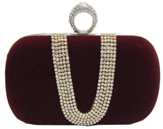 Deep Red Maroon Wine Burgundy Suede Rhinestone Studded One Ring Knuckle Duster Style Evening Cocktail Bag