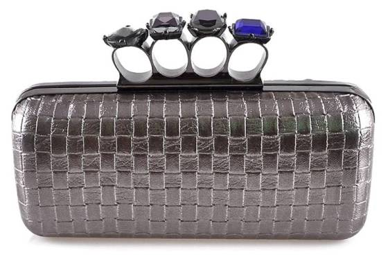 Metallic Grey Woven Faux Patent Leather Duster Knuckle Four Ring Clutch Purse Cocktail Bag with Crystals