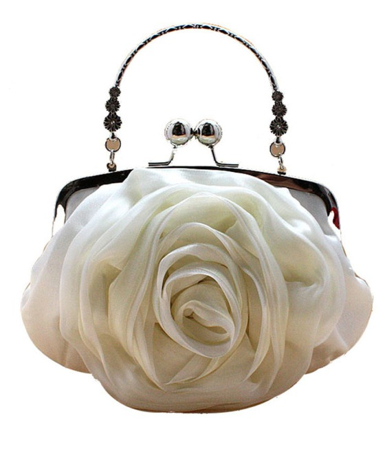 White Rose Shaped Satin Wedding and Bridal Clutch