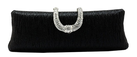 Metallic Hard Shell Cocktail Clutch Purse in BLACK