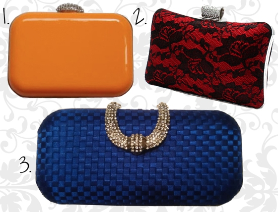 Hard Shell Clutch Minaudiere with Rhinestone Clips