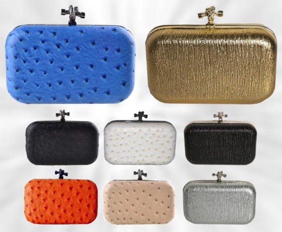 Hard Shell Minaudiere Clutch Purses with Knot Closures