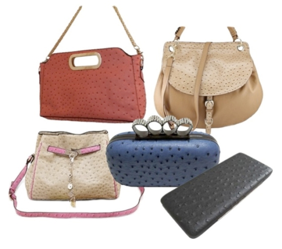 Faux ostrich leather handbags, purses and wallets!