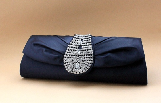 Royal Look Satin Silk Rhinestone Studded Evening and Bridal Clutch Purse in ROYAL BLUE