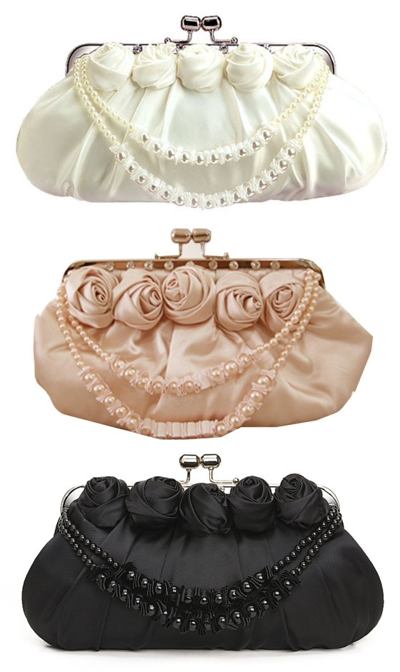 Satin Rosette Bridal Clutch Bag Purse with Rhinestone Clip and Pearl and Satin String ON SALE $19.99 each.  Available in White, Black and Beige