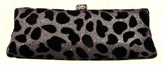 Silver Blue Shimmer Suede Velvet Cheetah Print Leopard Print Animal Print Hard Evening Clutch Handbag