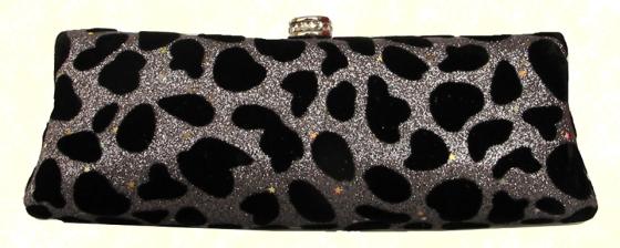 Silver Blue Shimmer Suede Velvet Cheetah Print Leopard Print Animal Print Hard Evening Clutch Handbag