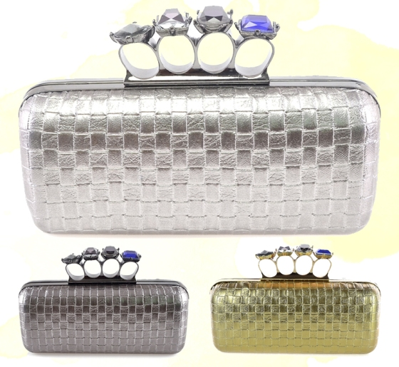 Woven Faux Patent Leather Duster Knuckle Four Ring Clutch Purse Cocktail Bag with Crystals