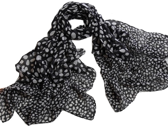 Black with White Polka Dots Polyester Voile Neck Scarf Wrap Stole Shawl