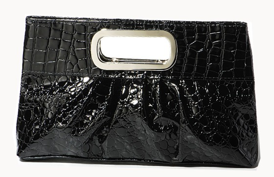 Black Oversized Faux Patent Leather Casual/Formal Day/Evening Pleather Clutch Purse Bag