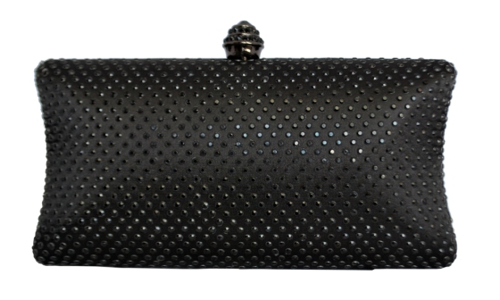 Black Rhinestone Crystal Hard Box Clutch