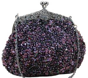 Purple Fully Sequined Antique Style Clutch purse Bag