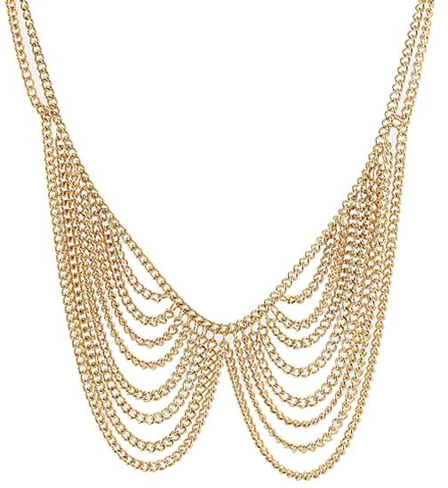 Gold Tone Tassel Multi Chain Chainlink Collar Necklace