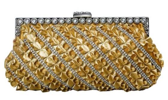Gold Pleated Satin Wedding Evening Bridal Clutch Purse With Rhinestone Decoration